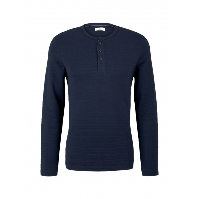 Tom Tailor Henley Longsleeve Shirt Dark Blue