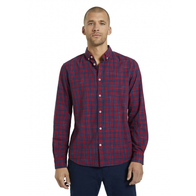 Tom Tailor Classic Checked Shirt Red Navy