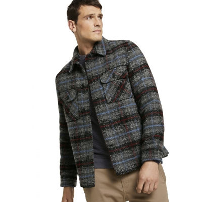Tom Tailor Checked Jacket Blue Grey