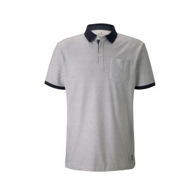 Tom Tailor Polo Shirt Waves White Navy